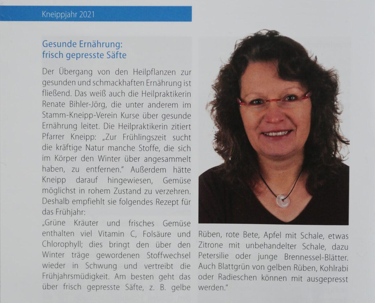 Gesunde Ernährung, frisch gepresste Säfte. Vorträge von Heilpraktikerin Renate Bihler-Jörg im Kneipp-Jahr 2021.